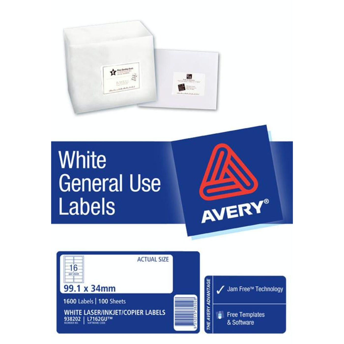 AVERY GENERAL USE LABELS L7162 16 LABELS/SHEET