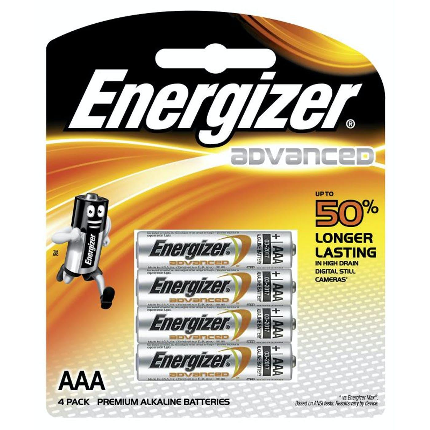 ENERGIZER AAA ALKALINE ADVANCED BATTERY  PKT 4