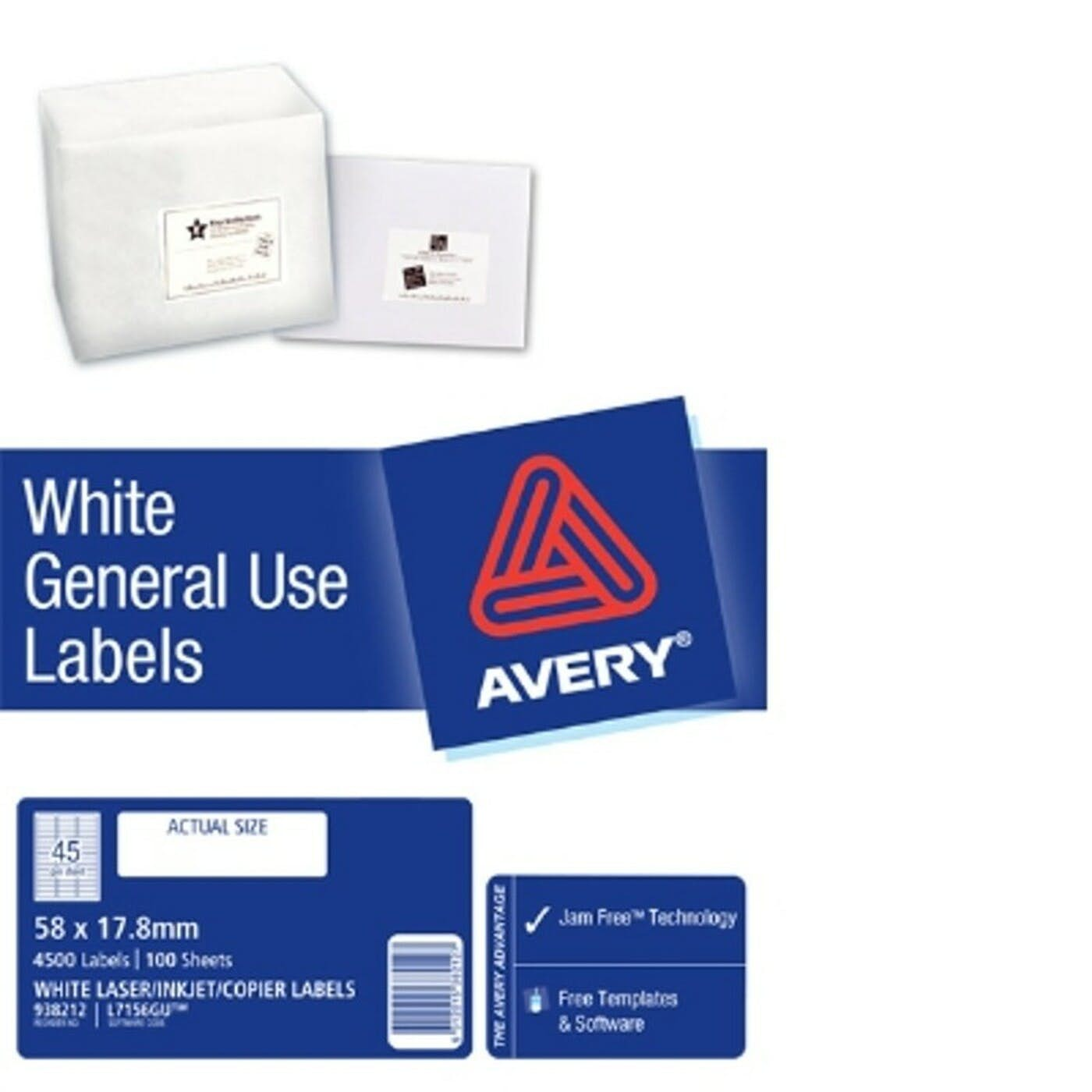 AVERY GENERAL USE LABELS L7156 45 LABELS/SHEET