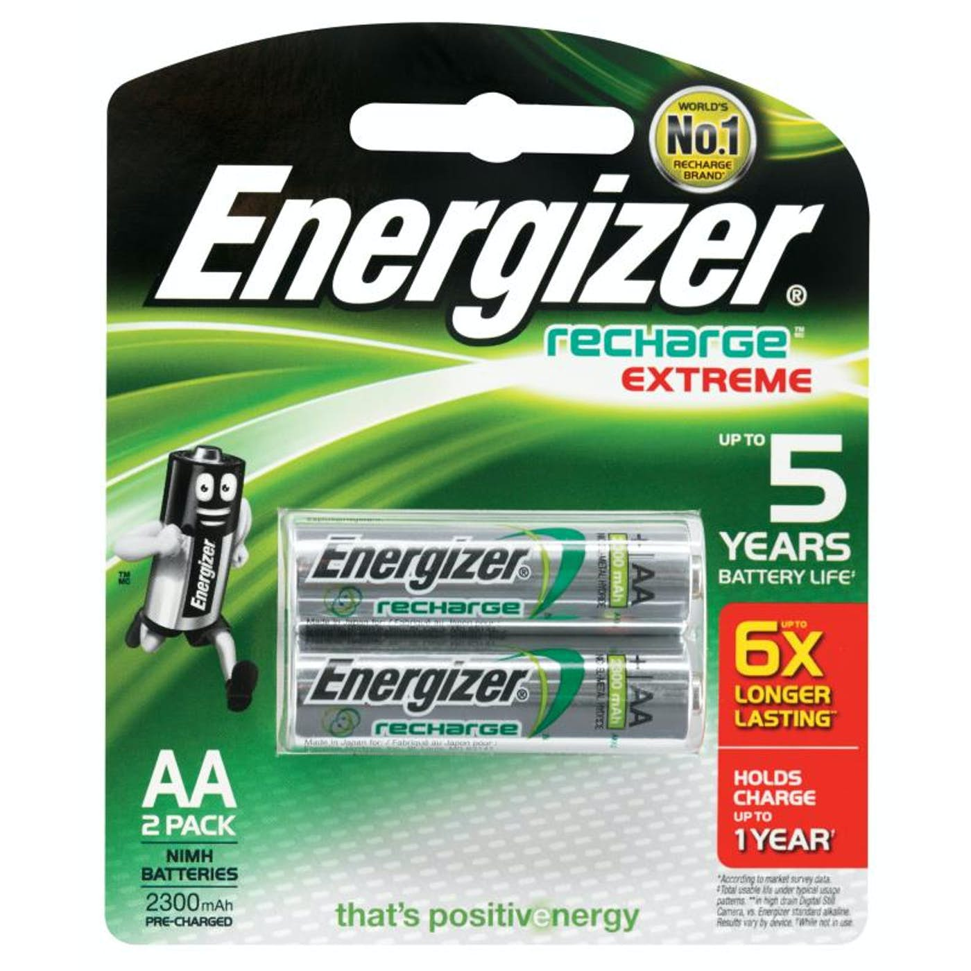 ENERGIZER AA RECHARGEABLE BATTERY  PKT 2