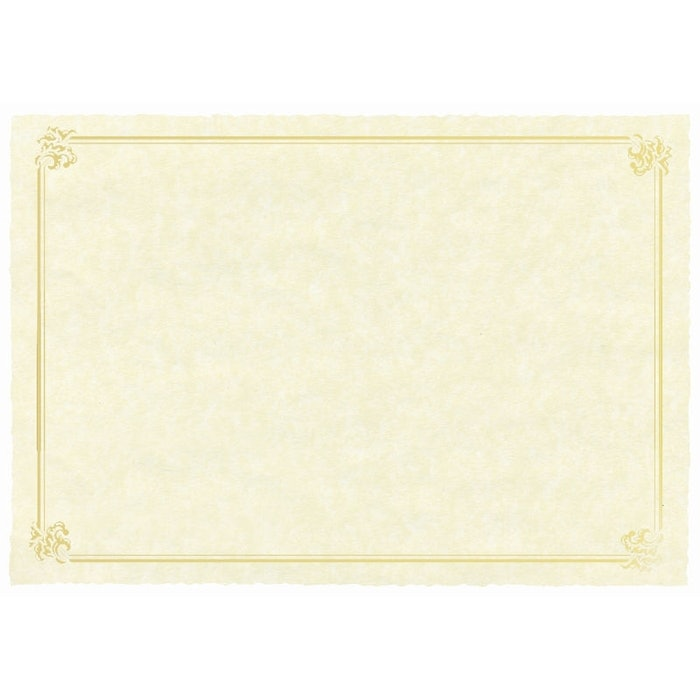 SHEET OF 2 A4 NATURAL PARCHMENT PAPER WITH GOLD FOIL