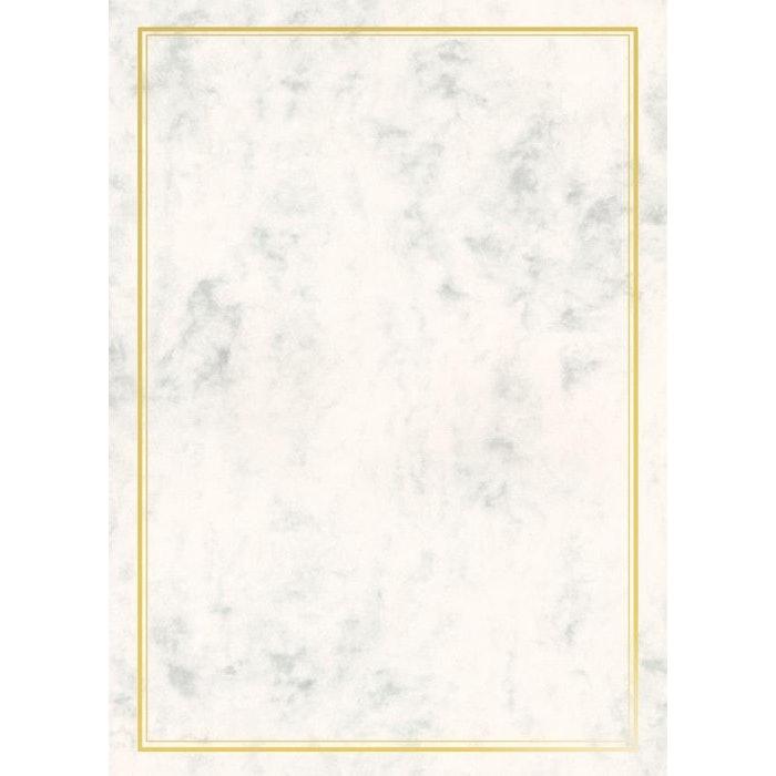 WHITE PARCHMENT PAPER WITH SILVER FOIL BORDER