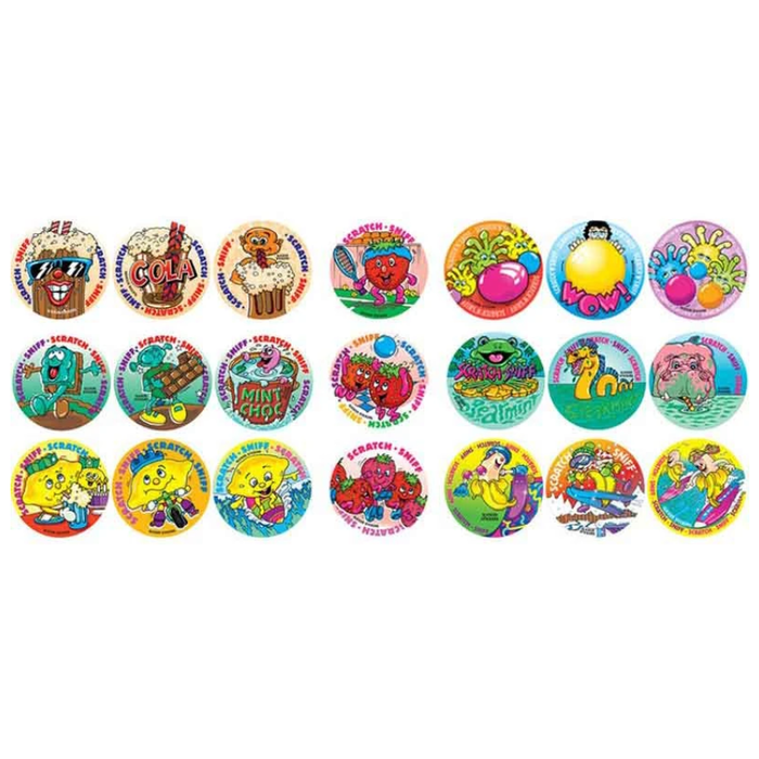 SCRATCH AND SNIFF MIXED MULTI PACK STICKERS, PKT 84