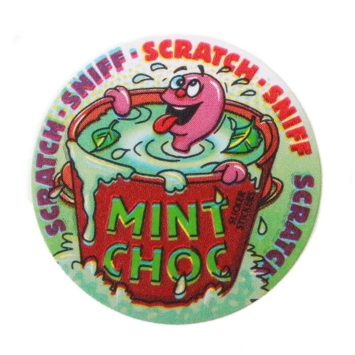 SCRATCH AND SNIFF STICKERS (MINT CHOCOLATE), PKT 84