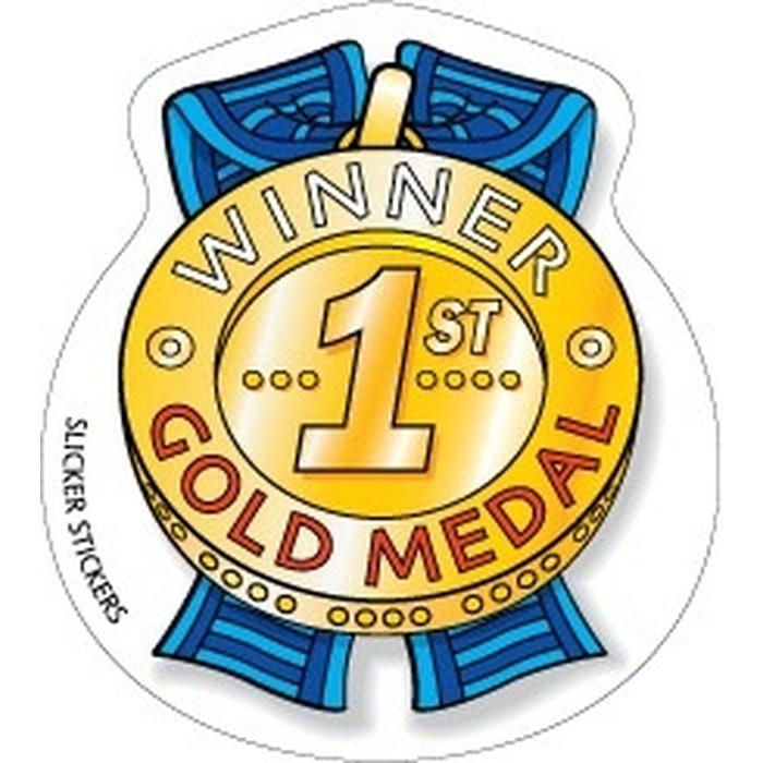 FIRST PLACE GOLD MEDAL STICKERS, PKT 80