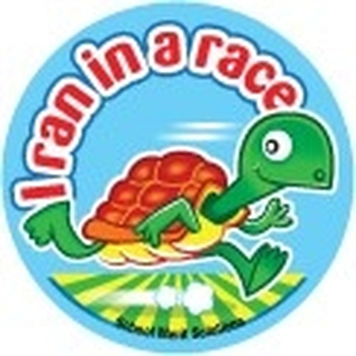 I RAN IN A RACE STICKERS, TURTLE, PKT 50
