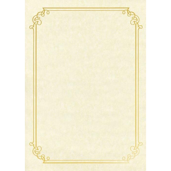 A4 NATURAL PARCHMENT PAPER WITH GOLD FOIL BORDER