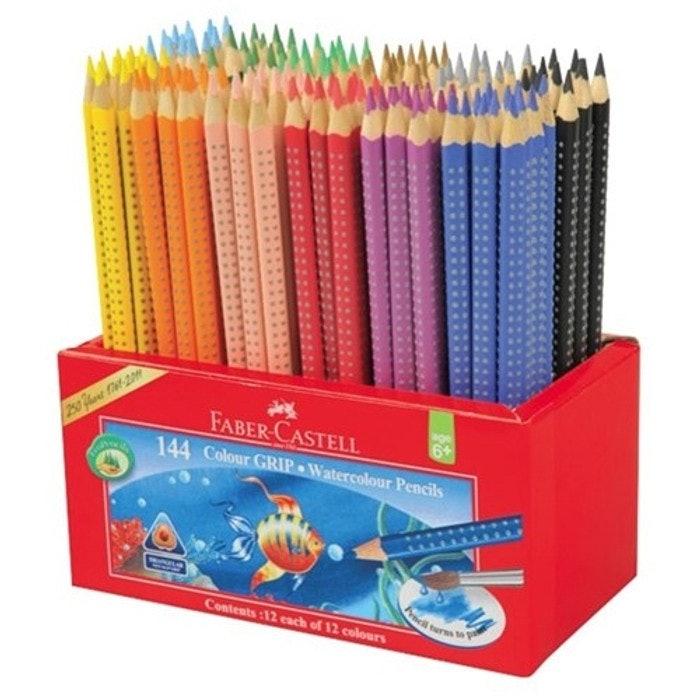 faber castell grip watercolour pencils tub 144  qizzle