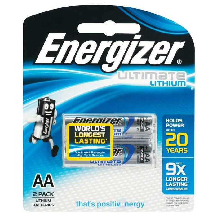 ENERGIZER AA LITHIUM BATTERY, PKT 2
