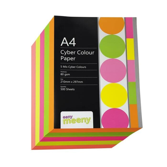 A4 EM CYBER COLOURED PAPER PACK 80GSM, 500 SHEETS