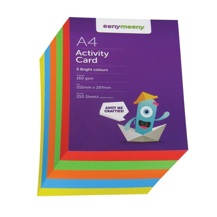 A4 EM BRIGHT COLOURED CARD PACK 160GSM, 250 SHEETS