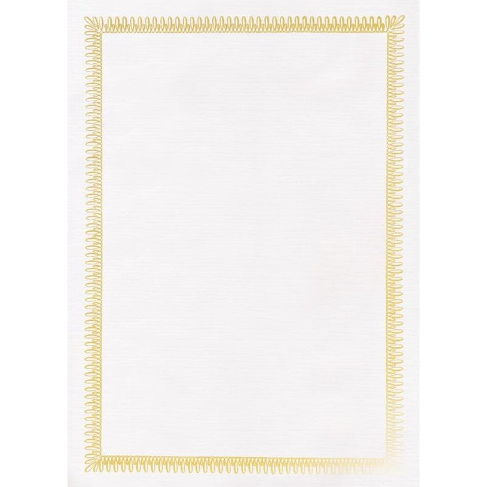A4 WHITE ANTIQUE CERTIFICATE WITH GOLD FOIL