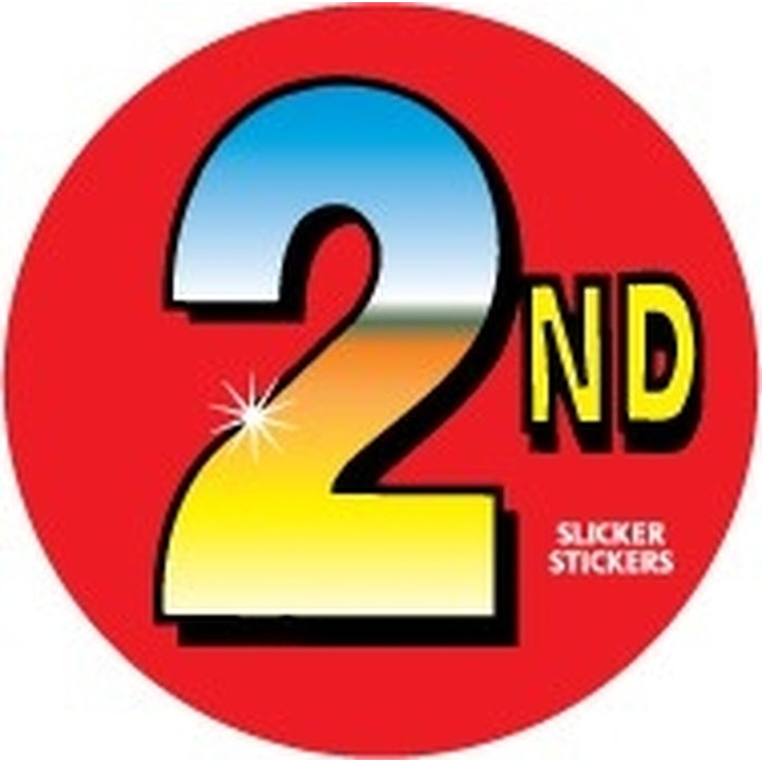 SECOND PLACE STICKERS, PKT 100
